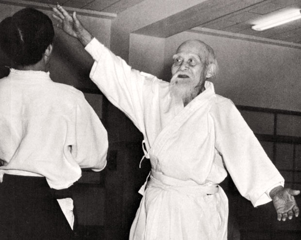 Aikido Founder Morihei Ueshiba at newly opened Aikikai Hombu Dojo c. 1968