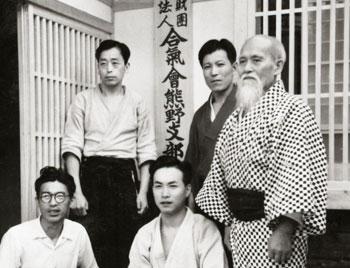 Seiseki Abe, Yoshitaka Inoue (nephew of Morihei), and the Founder at Kumano Juku Dojo in Shingu c. 1954