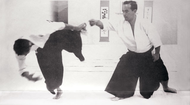 Koichi Tohei Sensei demonstrating at the Los Angeles Aikikai in 1965
