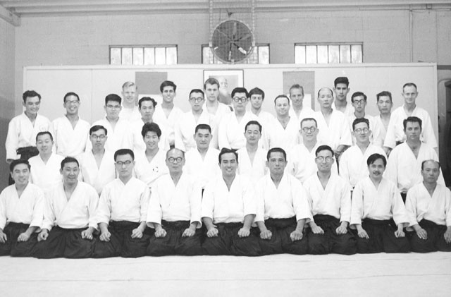 Group photo taken at the Los Angeles Aikikai in 1965 during a visit of Koichi Tohei Sensei. Tohei Sensei is seated front row center. To his right, Isao Takahashi. The author is standing last row, second from left