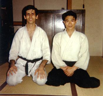 Stanley Pranin with Shoji Nishio Sensei inside his Sugamo dojo, summer 1969