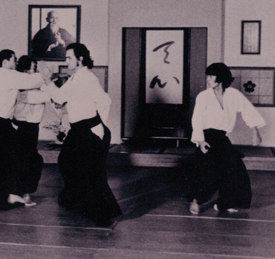 Steven Seagal executes an irimi hand movement during randori practice with Matsuoka Sensei.