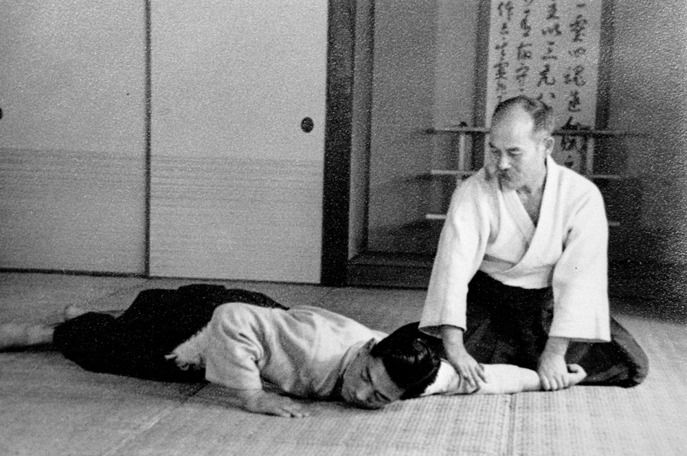 Morihei Ueshiba in 1936 at the Noma Dojo, years before WWII.
