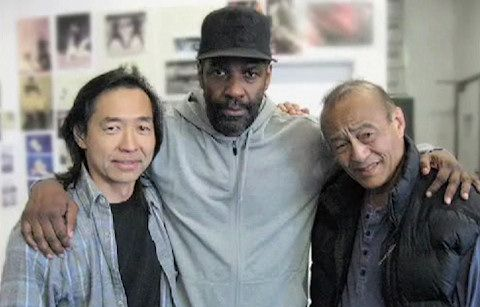 Jeff Imada with Dan Inosanto and Denzel Washington.