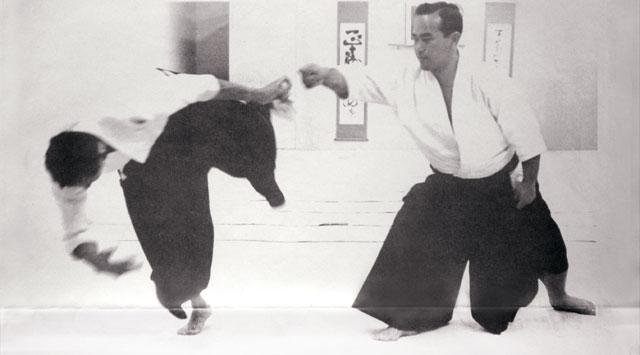 Koichi Tohei Sensei demonstrating at the Los Angeles Aikikai in 1965