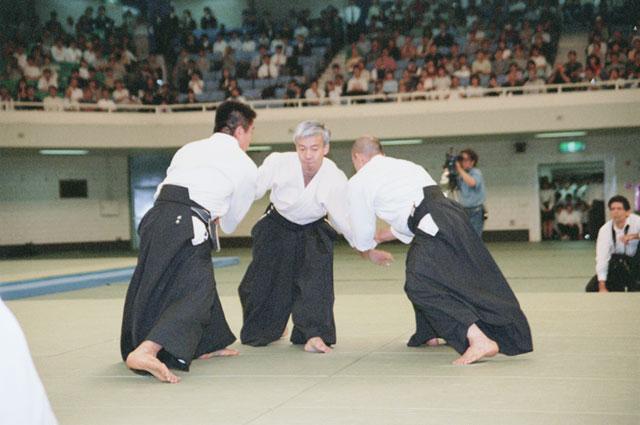 Aikido Doshu Moriteru Ueshiba at All-Japan Aikido Demonstration c. 2000