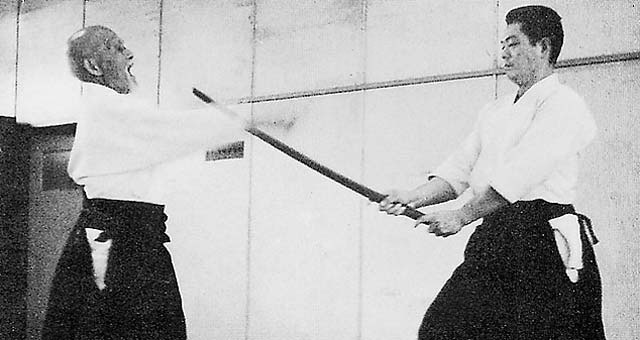 Aikido Founder Morihei Ueshiba and Kobayashi Sensei cross swords c. 1965