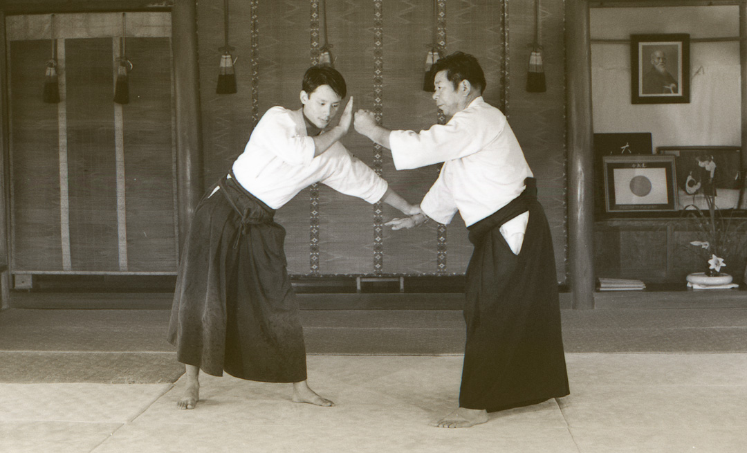 Morihiro Saito Sensei executing katatedori ikkyo in the Iwama Dojo in 1979