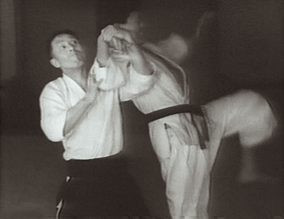 Gozo Shioda in a dynamic screenshot from an early Yoshinkan Aikido film