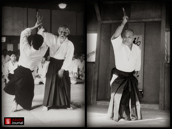 Double panel depicting Morihei Ueshiba alongside his nephew Yoichiro Inoue