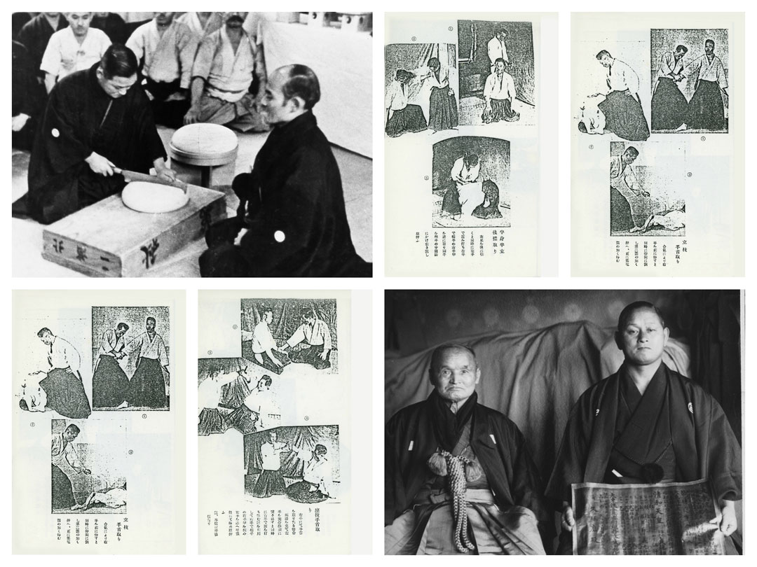 "A collage with photos of Hisa with Morihei Ueshiba, Sokaku Takeda, and samples of the ""Soden""."